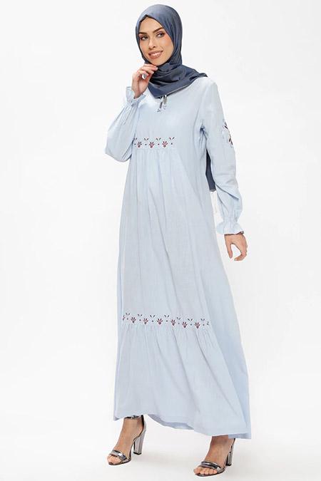 Ginezza Bebe Mavisi Nakışlı Elbise