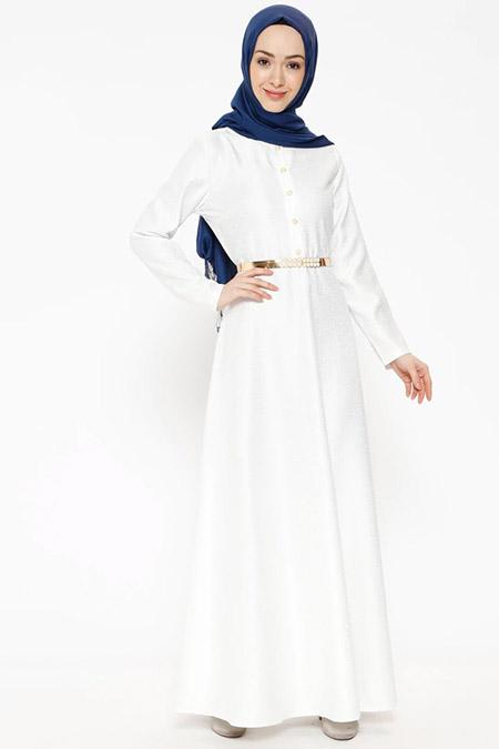 Ginezza Beyaz Jakarlı Elbise