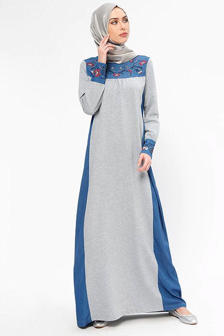 Ginezza Lacivert Nakış Detaylı Elbise