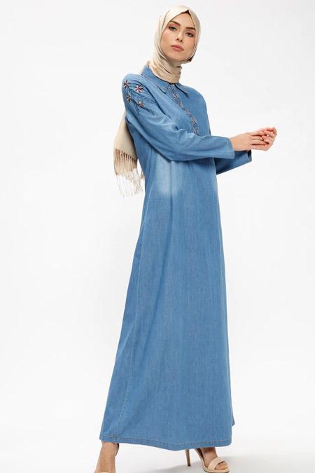 Ginezza Mavi Nakışlı Kot Elbise
