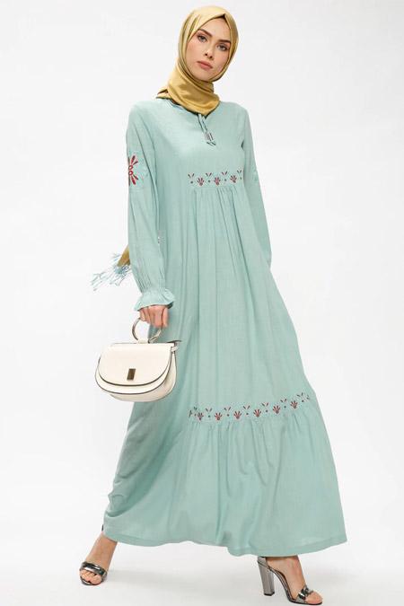 Ginezza Mint Nakışlı Elbise