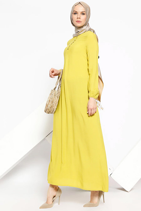 Ginezza Yağ Yeşili Birit Detaylı Elbise