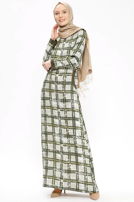 Ginezza Yeşil Desenli Elbise
