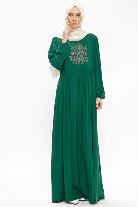 Ginezza Yeşil Drop Baskılı Elbise