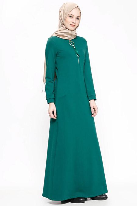 Ginezza Yeşil Fermuar Detaylı Elbise