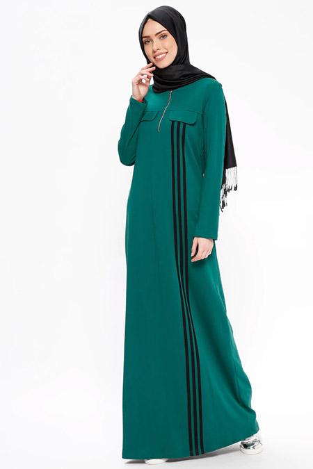 Ginezza Yeşil Fermuar Detaylı Spor Elbise