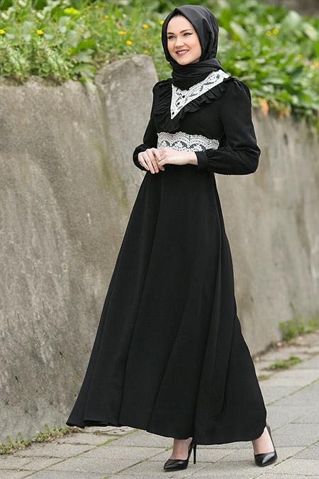 Gizem Kış Siyah Çalıkuşu Elbise