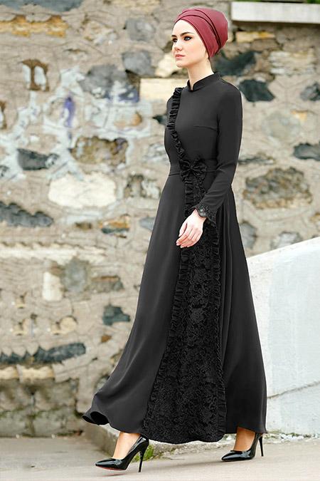 Gizem Kış Siyah Erva Elbise