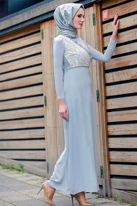 Gizem Kış Gri Miray Elbise