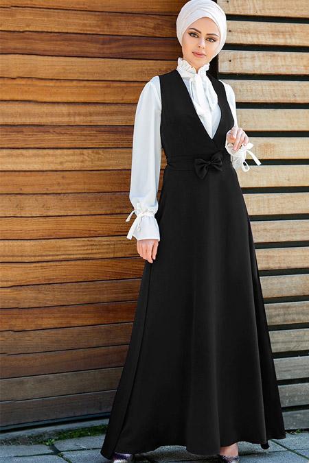 Gizem Kış Siyah Aybüke Slopet Elbise İkili Takım