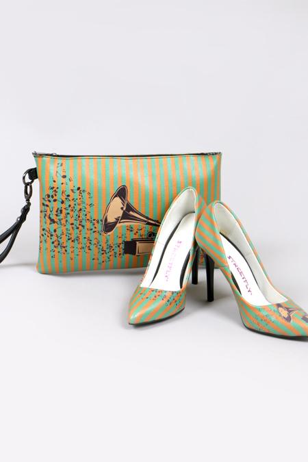 Gramafon Desenli Yeşil Stiletto ve El Çantası Set