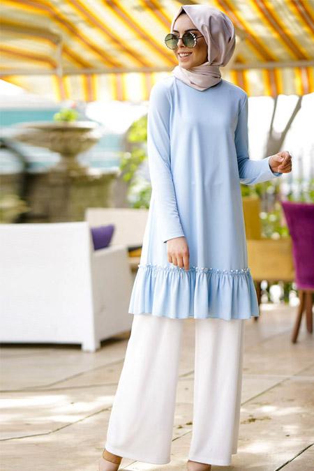 İnşirah Bebe Mavi İncili Tunik Pantolon İkili Takım