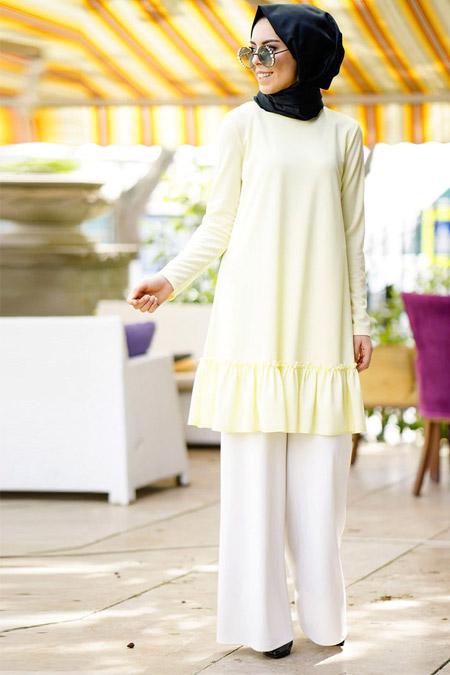 İnşirah Sarı Tunik Pantolon İkili Takım