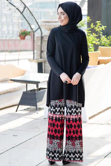 İnşirah Siyah Bordo Tunik Pantolon İkili Takım