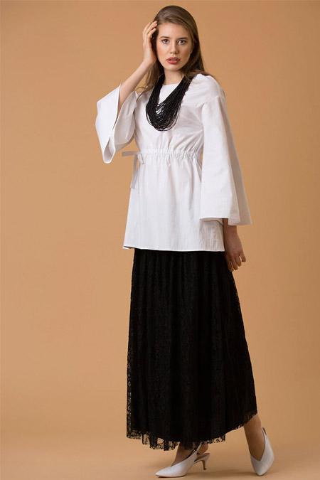 JAQAR Beyaz Bağcık Detaylı Poplin Bluz