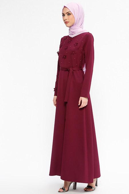 Jamila Bordo İnci Süslemeli Elbise