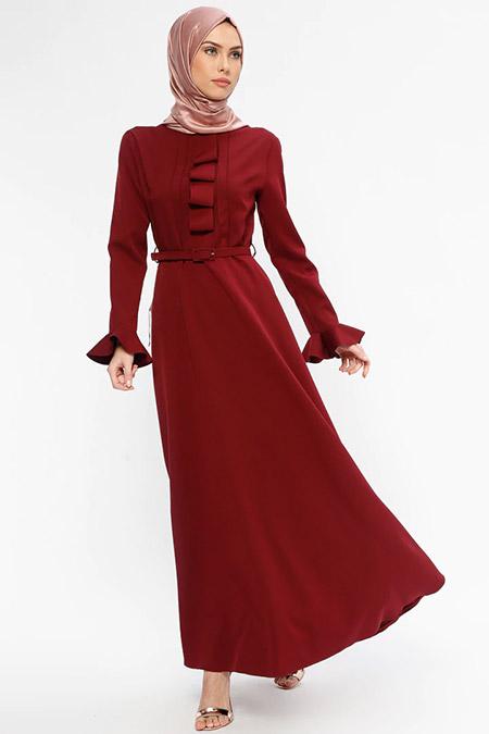Jamila Bordo Yaka Detaylı Elbise