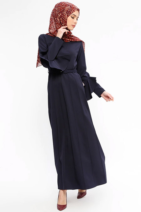 Jamila Lacivert Kemerli Elbise
