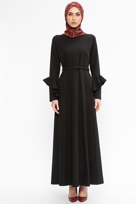 Jamila Siyah Kemerli Elbise
