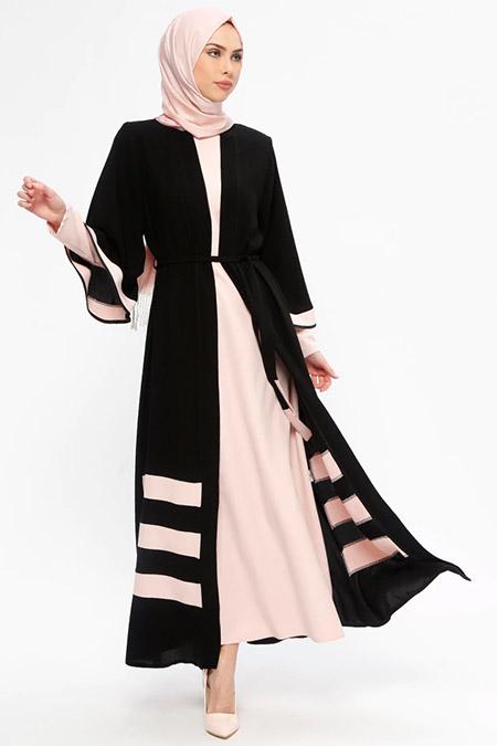 Jamila Siyah Pudra Uzun Kollu Elbise&Abaya İkili Takım