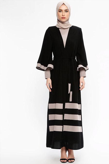 Jamila Siyah Vizon Uzun Kollu Elbise&Abaya İkili Takım