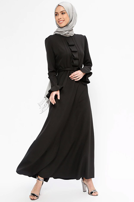 Jamila Siyah Yaka Detaylı Elbise