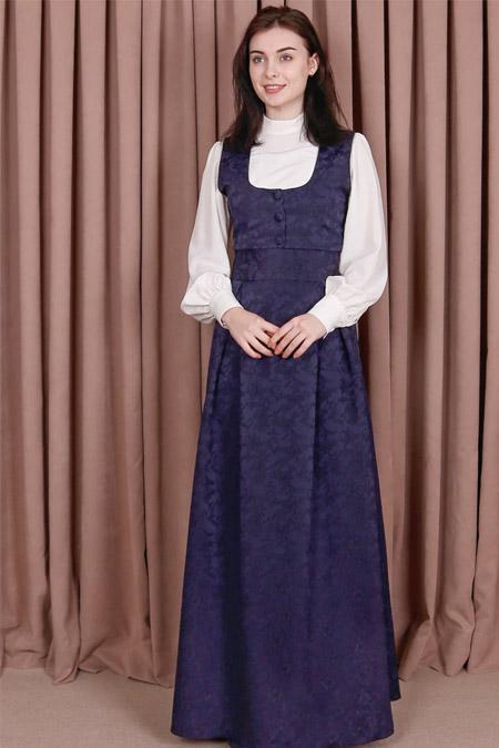 Kübra Biriktir Lacivert Şehriyar Brokar Jile Elbise