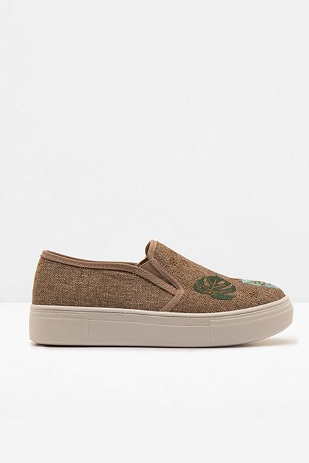 Koton Bej Bağcıksız İşlemeli Ayakkabı
