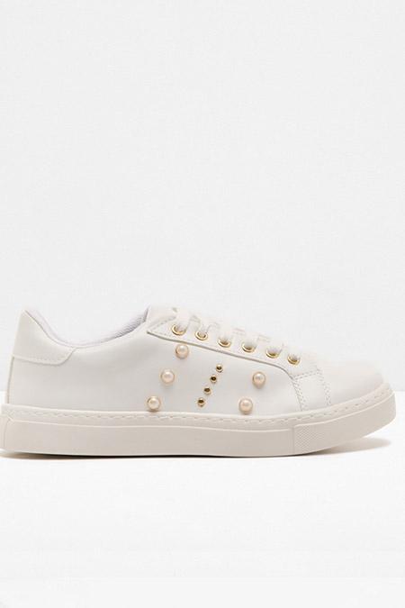 Koton Beyaz İnci Detaylı Bağcıklı Spor Ayakkabı