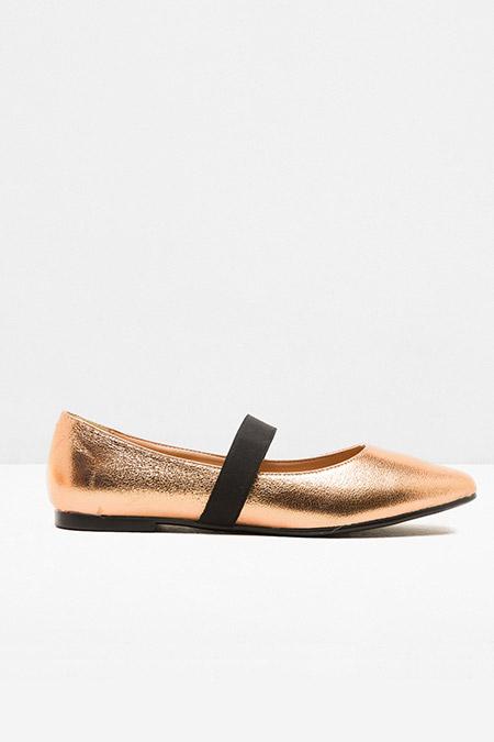 Koton Pembe Altın Bağcıksız Ayakkabı
