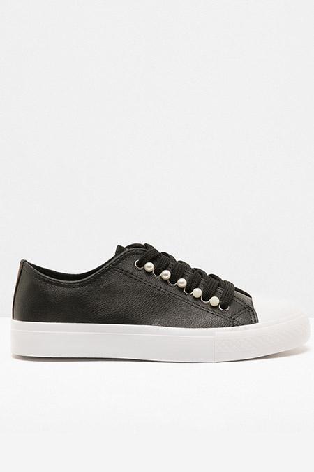 Koton Siyah İnci Detaylı Bağcıklı Ayakkabı