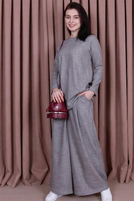 Kübra Biriktir Füme Sedef Keten Pantolon & Tunik İkili Takım