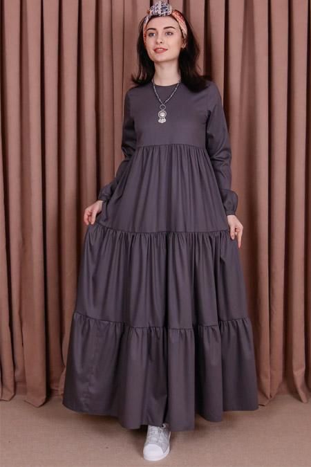 Kübra Biriktir Gri Yeşim Robalı Elbise