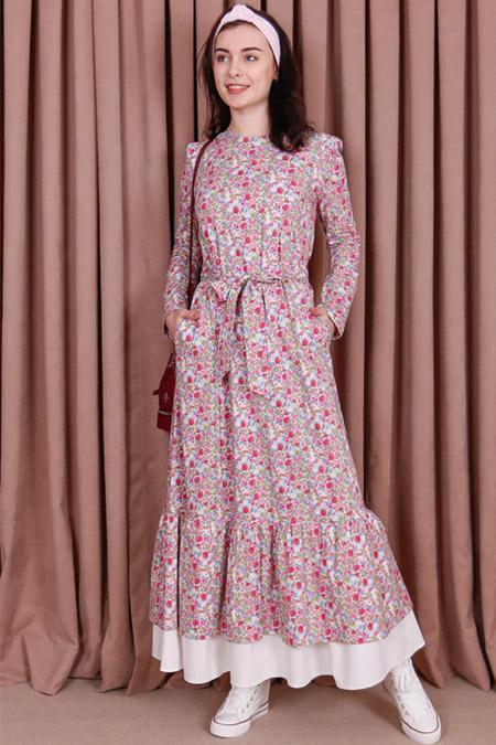Kübra Biriktir Lerzan Çiçekli Fırfırlı Elbise