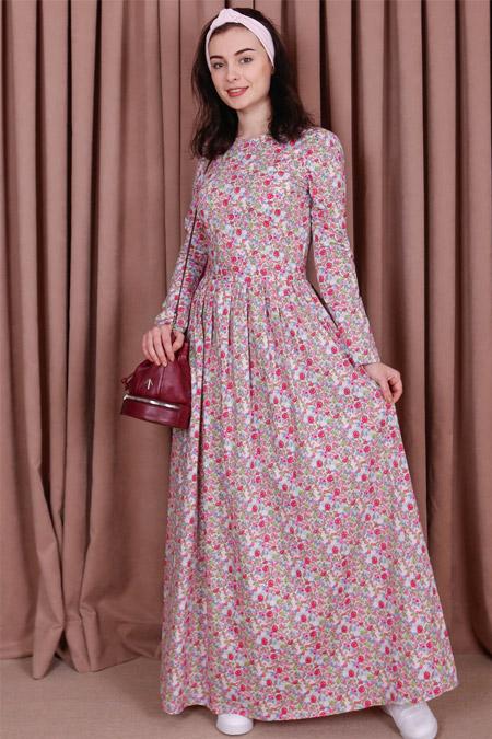 Kübra Biriktir Pembe Mimoza Çiçekli Büzgülü Elbise