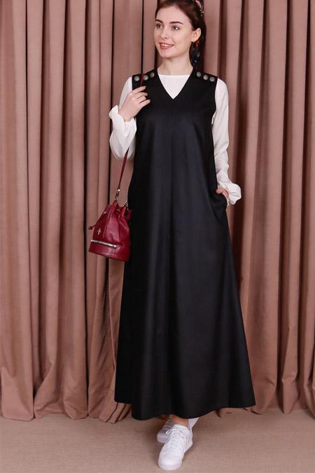 Kübra Biriktir Siyah Şehrazat Jile Elbise