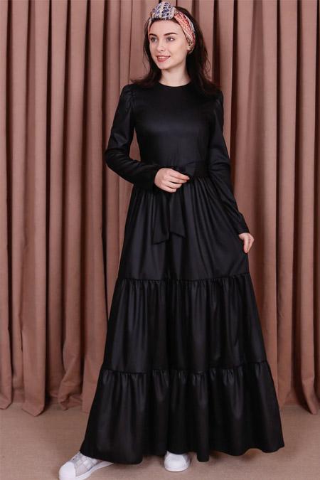Kübra Biriktir Siyah Sude Elbise