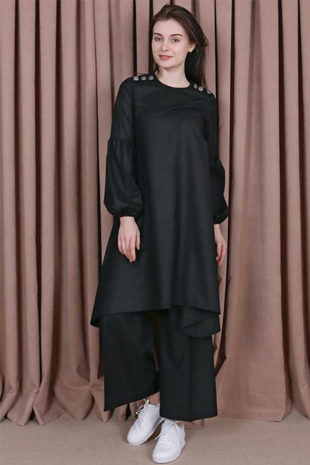 Kübra Biriktir Siyah Şehrazat Pantolon & Tunik İkili Takım