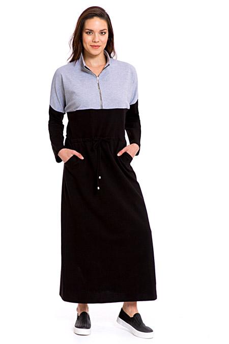 LC Waikiki Black Pamuklu Uzun Elbise