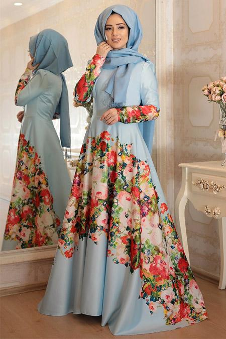 Lef`zen Mavi Lavin Abiye Elbise