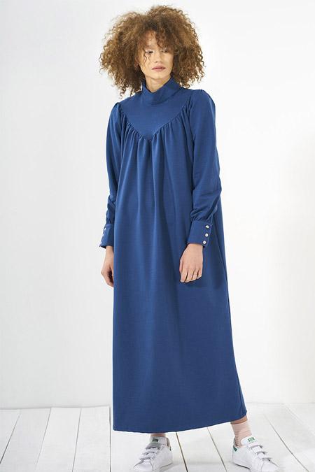 Mevra İndigo Büzgülü Elbise