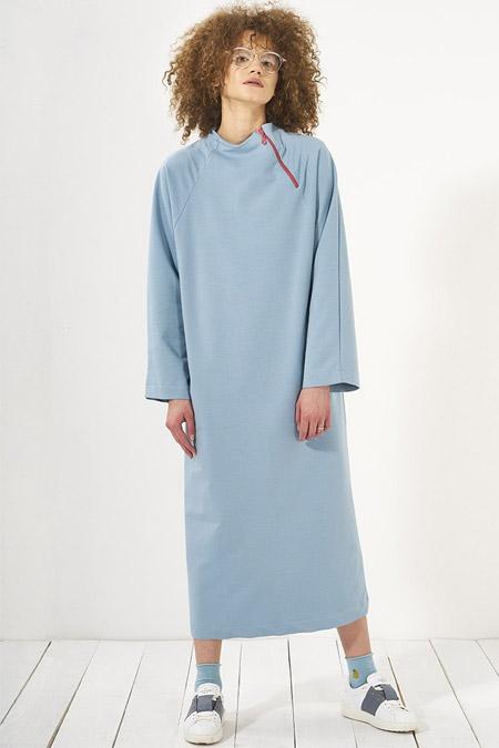 Mevra Mavi Beren Yan Yaka Fermuarlı Elbise