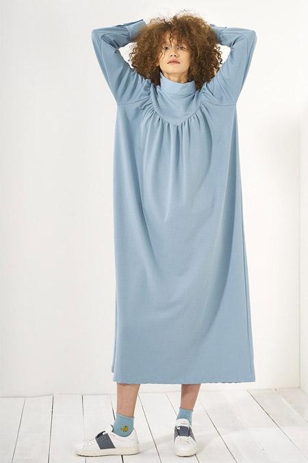Mevra Mavi Büzgülü Elbise