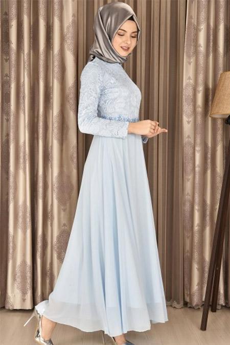 Modamerve Bebe Mavisi Dantelli Şifon Abiye Elbise