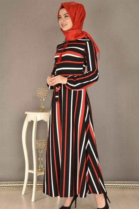 Modamerve Bordo Boydan Çizgili Elbise