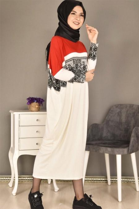 Modamerve Kırmızı Dijital Baskı Desen Panço Tunik