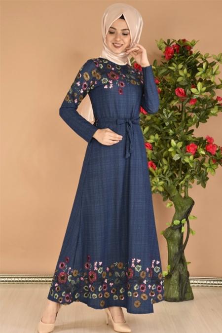 Modamerve Lacivert Çiçek Desen Kuşaklı Elbise