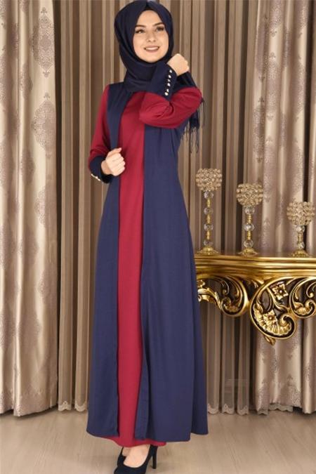 Modamerve Lacivert Fuşya Broşlu Elbise