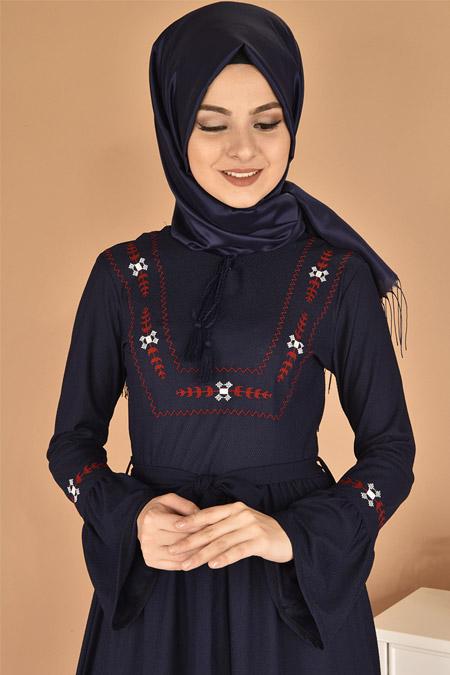 Modamerve Lacivert Valon Kol Nakışlı Elbise