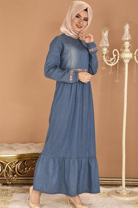 Modamerve Mavi Bel Nakışlı Kot Elbise